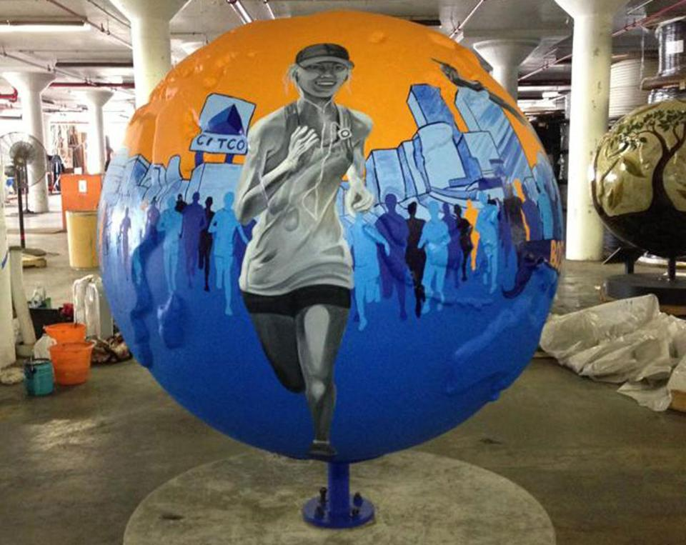 "Nancy Pochis Bank's Cool Globe entitled ""Willpower."