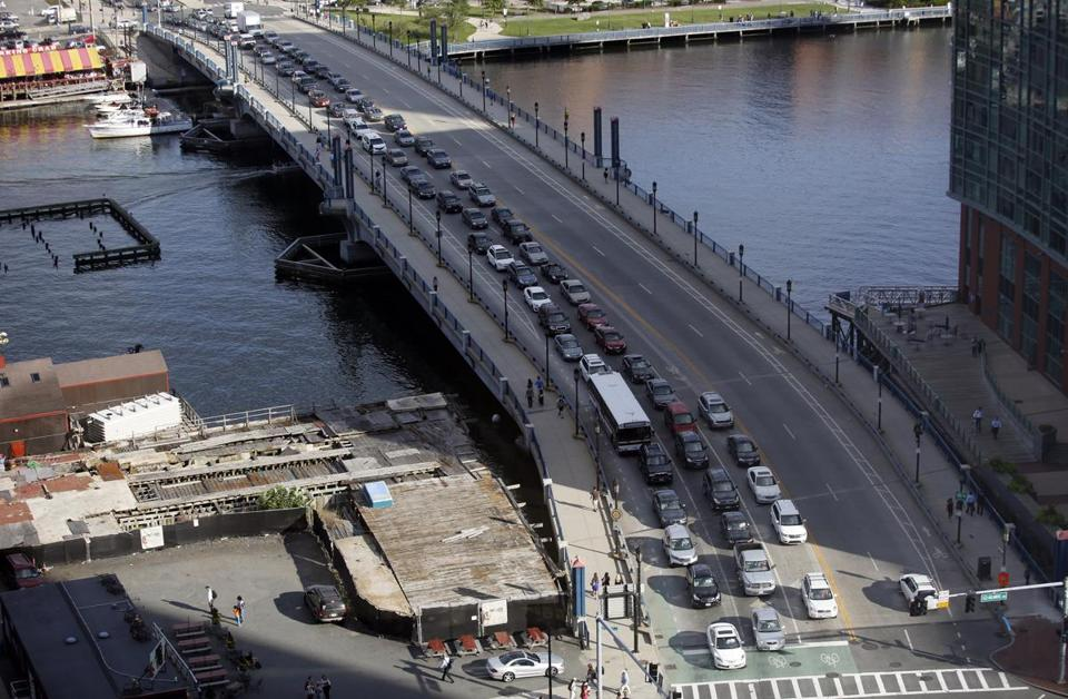 Seaport Boulevard is seen during rush hour traffic on Thursday.