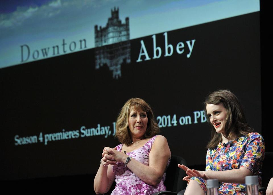 """Downton Abbey"" actresses Sophie McShera (right) and Phyllis Logan took part in a panel discussion about the show as part of a press tour in Beverly Hills, California."