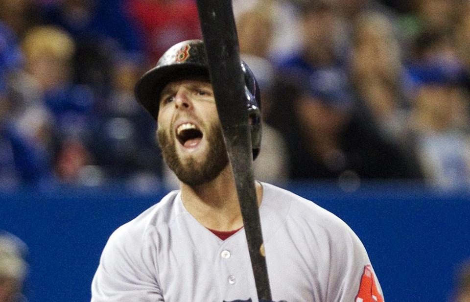 Dustin Pedroia reacted after a called third strike