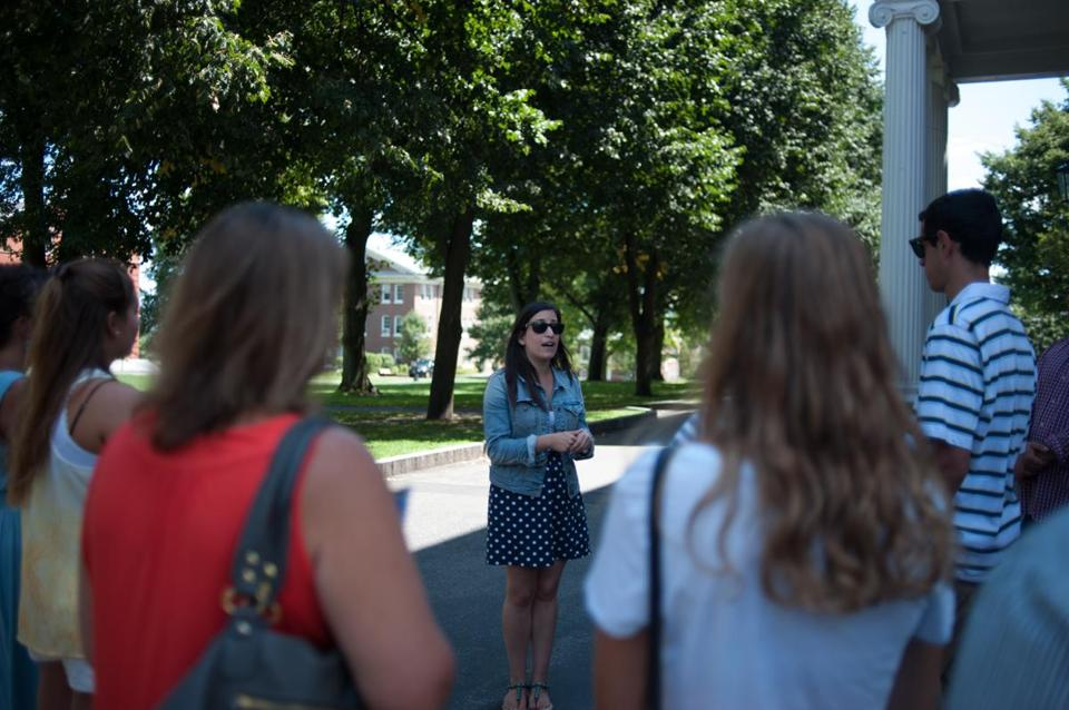 Jaime Morgan gave prospective students and their families a tour of the Tufts University campus.
