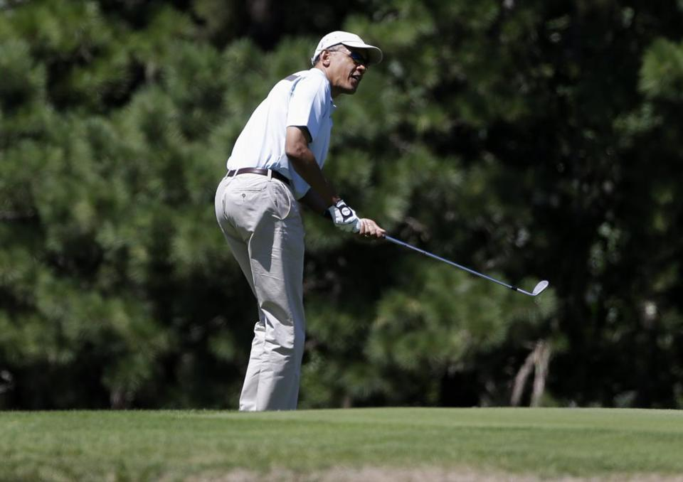 President Obama watched his shot at Mink Meadows Golf Club in Vineyard Haven on Thursday.