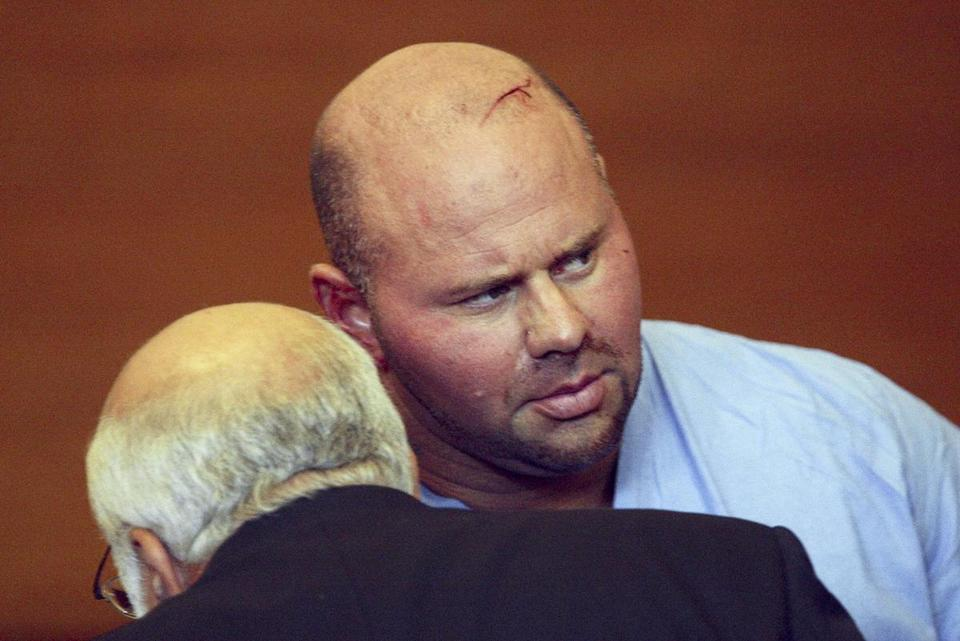 Jared Remy at his arraignment in the stabbing death of his girlfriend, Jennifer Martel. Remy had been arrested and relased two days prior to Martel's slaying.