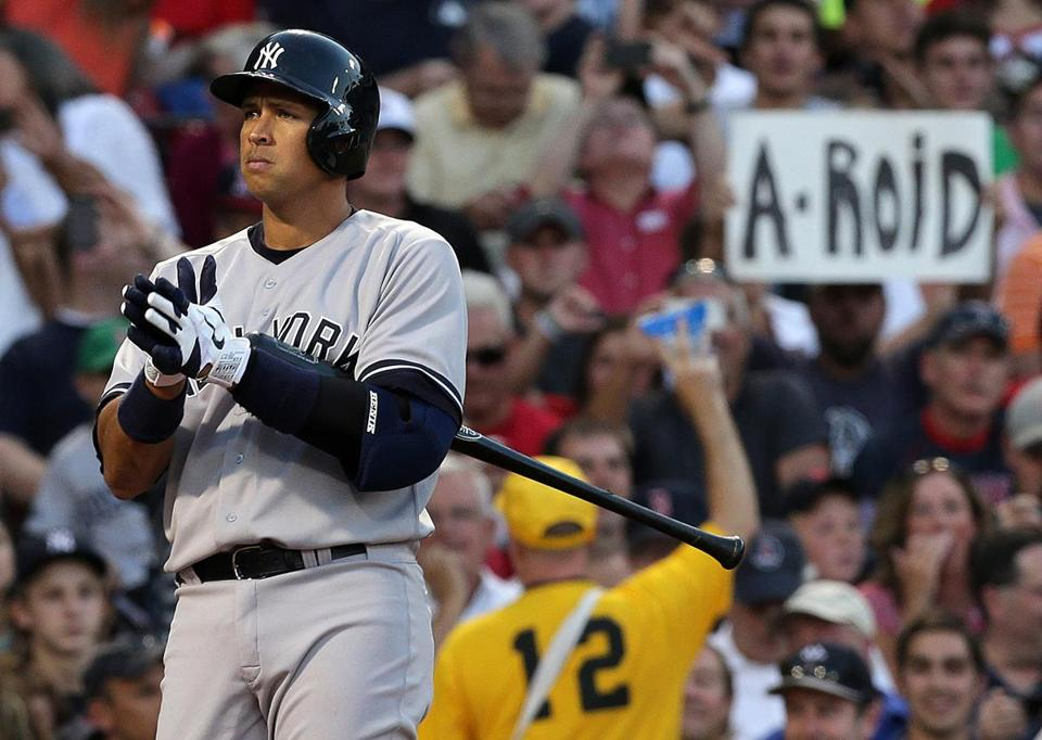 Fenway Park fans expressed their displeased with Alex Rodriguez when he came to the plate in the first inning. (Barry Chin/Globe Staff)