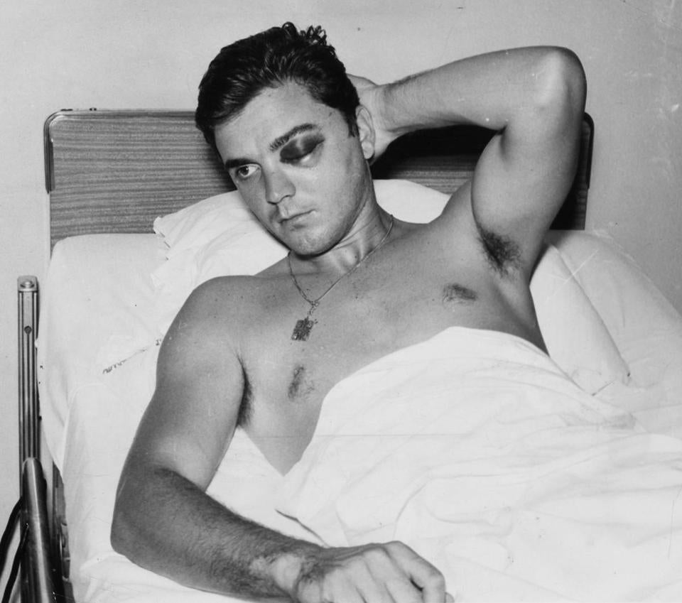 Tony Conigliaro sat in Sancta Maria Hospital after being hit by a pitch in 1967.
