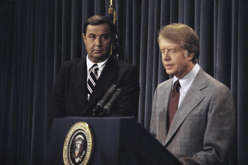 President Carter reconfirmed his support for Bert Lance during a White House press conference in August 1977.