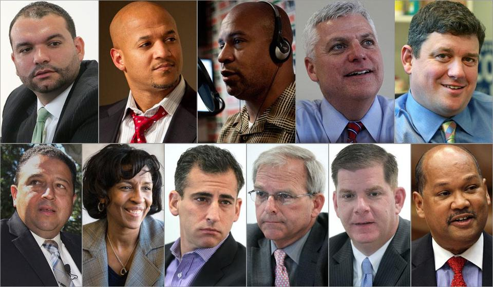 (Top, from left) Felix Arroyo; John Barros; Charles Clemons Jr.; Daniel Conley; and John Connolly. (Bottom, from left) Rob Consalvo;  Charlotte Golar Richie; Michael Ross; Bill Walczak; Marty Walsh; and Charles Yancey.