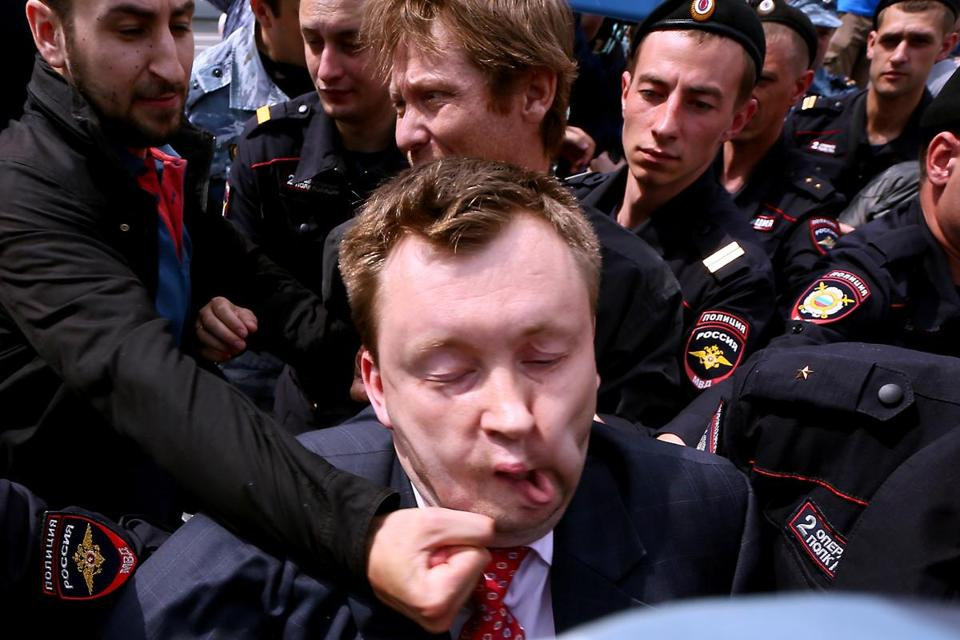 Noted Russian gay activist Nikolai Alexeyev was punched at a rally in  Moscow on May 25.