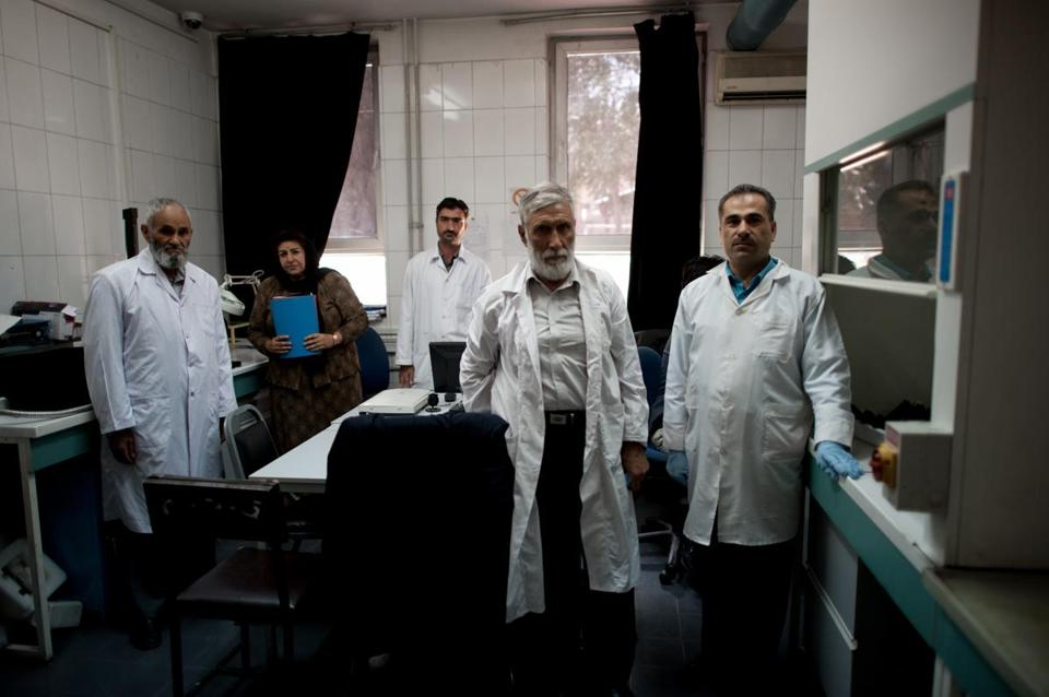 The forensic investigation staff at Afghan National Police headquarters.