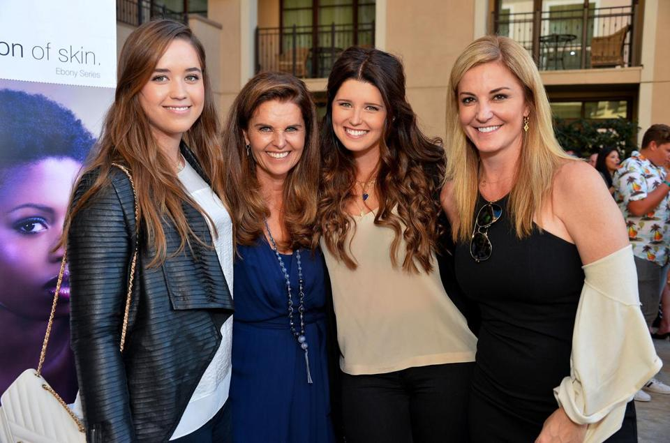 From left: Christina Schwarzenegger, Maria Shriver, Katherine Schwarzenegger, and a guest at the Montage Beverly Hills on Sunday.