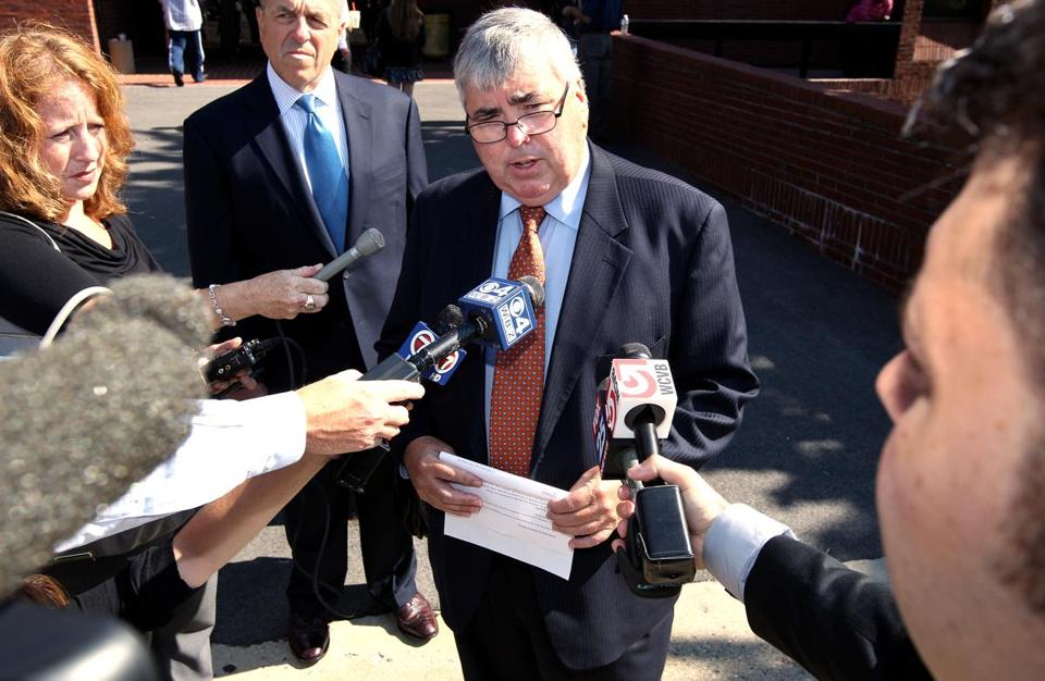 Norfollk County DA Michael Morrissey made a statement outside the district courthouse in Quincy on Monday.