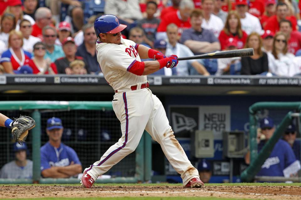 Carlos Ruiz had four singles for the Phillies, the last coming during a ninth-inning uprising.