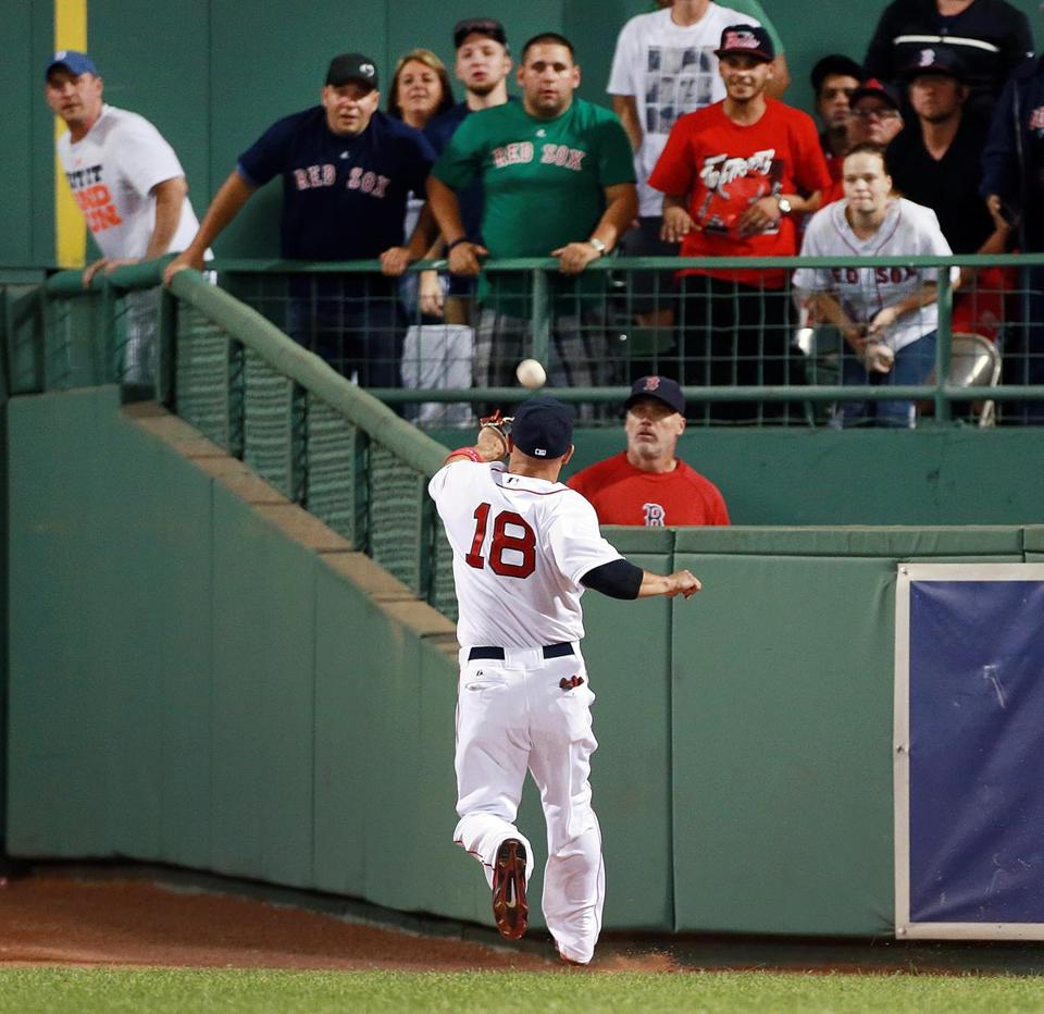 Red Sox right fielder Shane Victorino can't catch up with Brett Gardner's three-run triple in the sixth inning.