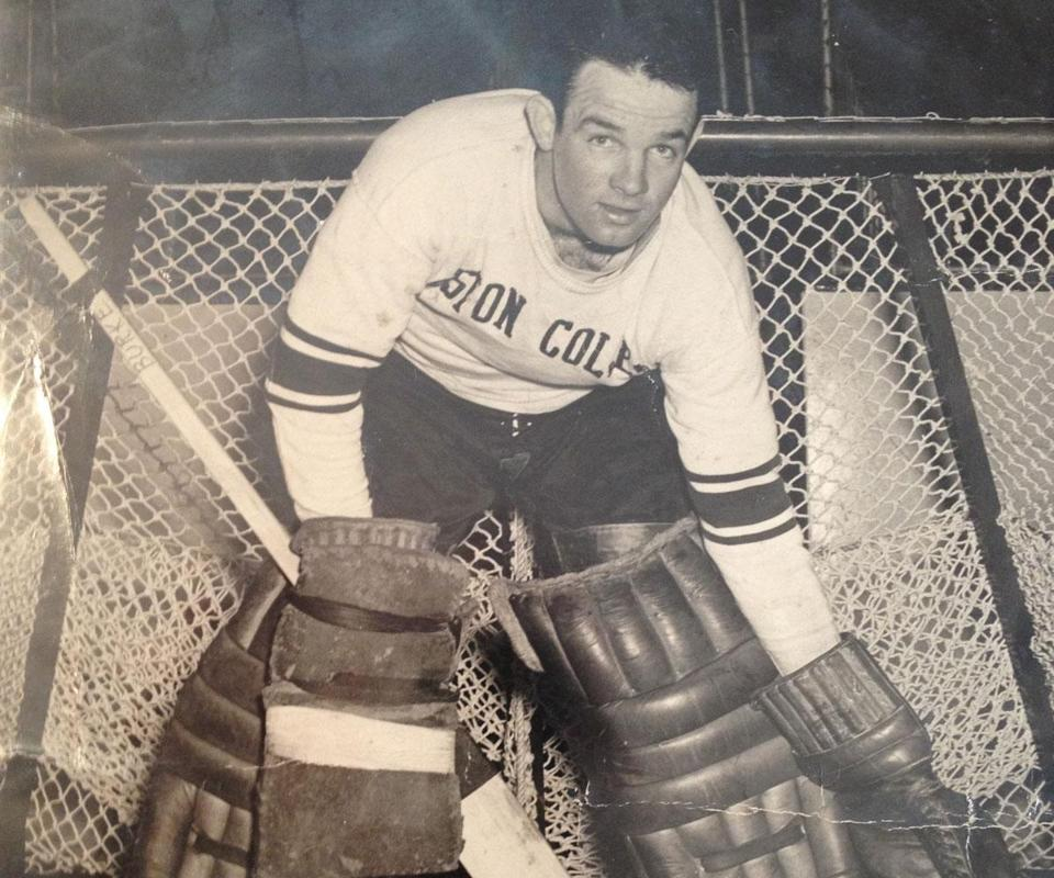Mr. Burke, an All-American goaltender, backstopped the Eagles to the NCAA Tournament championship in 1949.