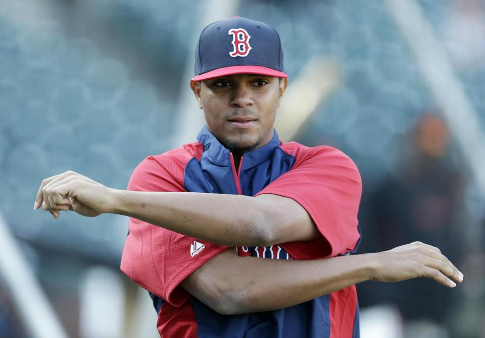 Xander Bogaerts stretched before Monday's Red Sox game in San Francisco.