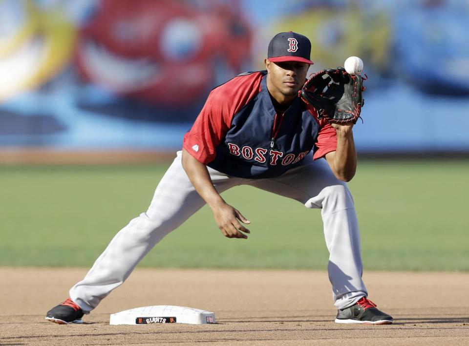Xander Bogaerts never got into Monday's game after being called up by the Red Sox.
