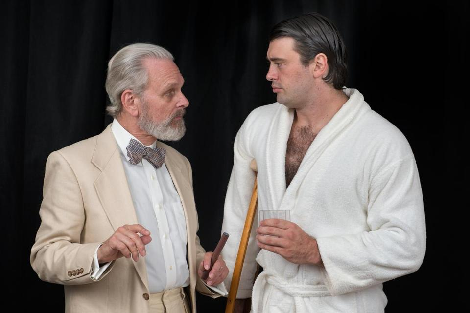 "Keir Dullea (left) as Big Daddy and Steven DeMarco as Brick in Wellfleet Harbor Actors Theater's production of ""Cat on a Hot Tin Roof."""