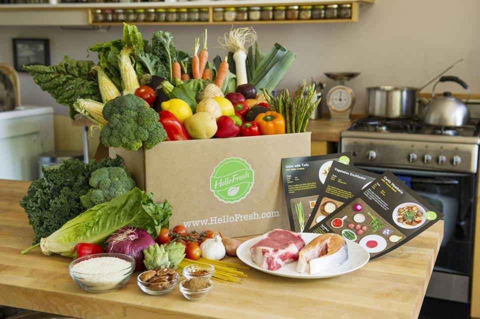 A HelloFresh dinner kit. The company and its rivals target people too busy to shop.