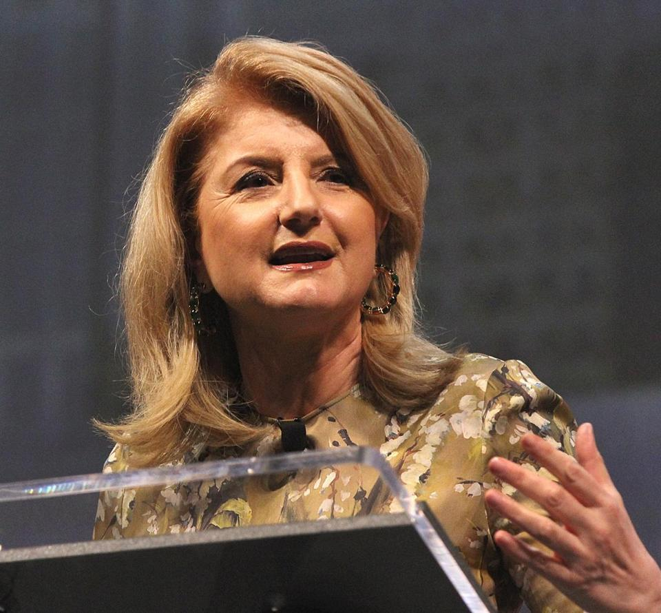 Arianna Huffington spoke at a conference in Boston Wednesday.