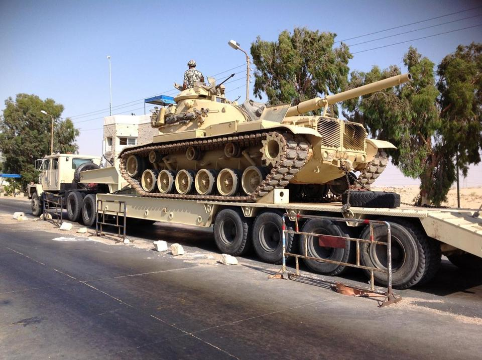 An Egyptian military tank was deployed in the northern Sinai town of Al-Arish on July 16.