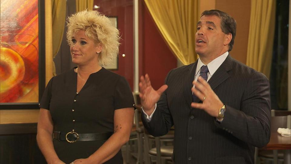"Anne Burrell with Boston restaurateur Salvatore Lupoli on Burrell's Food Network show, ""Chef Wanted."""