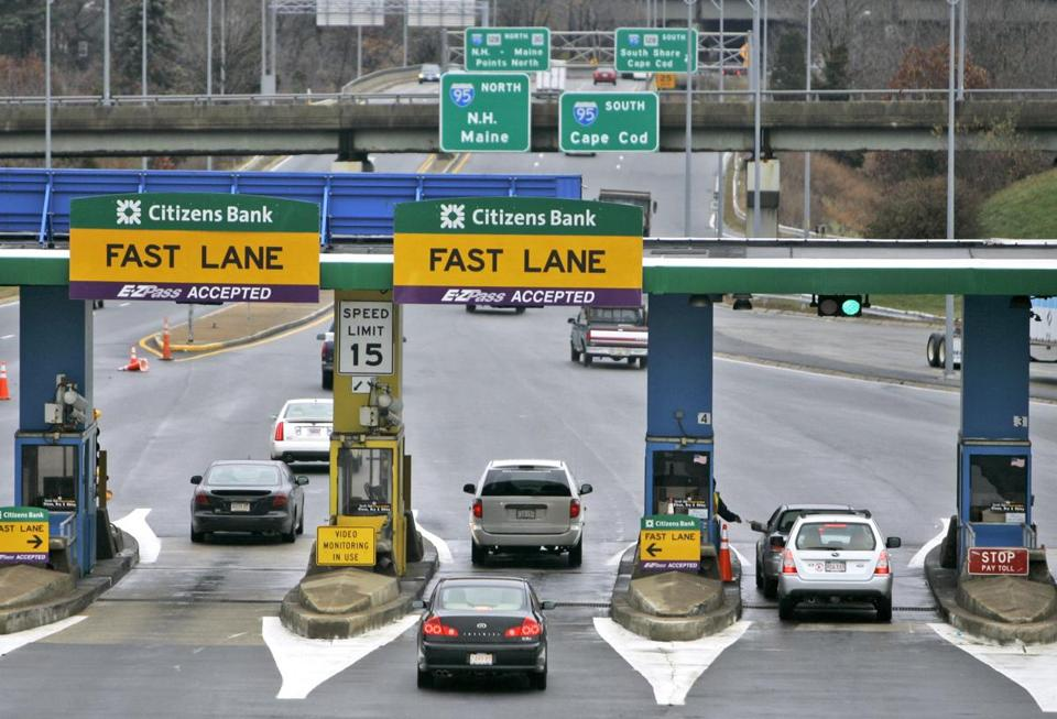 The 24 toll plazas on the Mass. Pike would be replaced with 17 automated gantries (at left), which will scan E-ZPasses and photograph registration plates as cars pass undeneath.