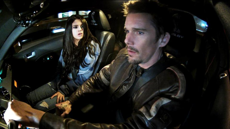 "Selena Gomez and Ethan Hawke — and a custom Ford Shelby GT500 Super Snake — costar in ""Getaway."""