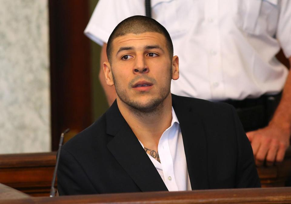 Aaron Hernandez at his pre-trial hearing Aug. 22 in Attleboro District Court. Globe staff photo by John Tlumacki (metro)
