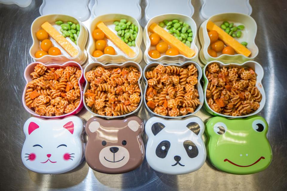 Sproot packages their lunches and snacks for preschoolers in bento boxes with animal faces.