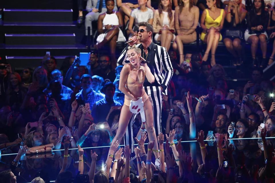 Miley Cyrus and Robin Thicke performed onstage during the 2013 MTV Video Music Awards at the Barclays Center in Brooklyn.