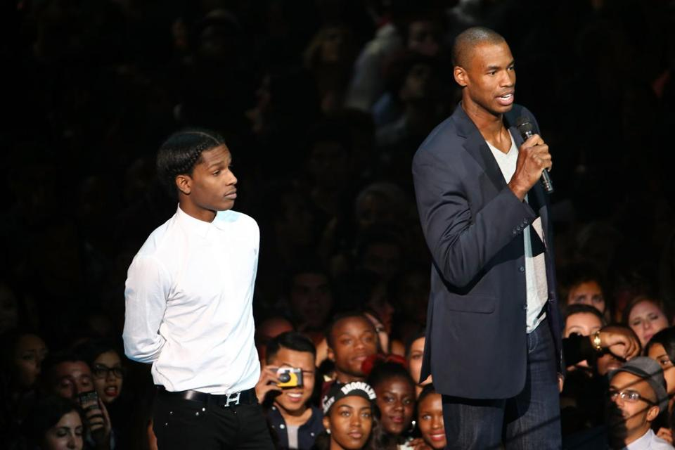 At the VMAs, rapper A$AP Rocky (left) with Jason Collins.