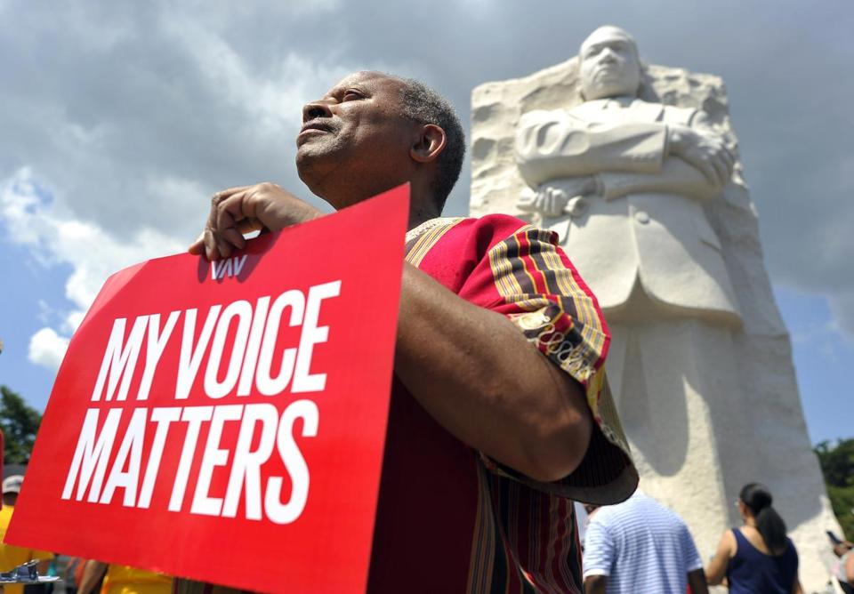 Tens of thousands gathered Saturday at the Martin Luther King Jr. memorial. President Obama will speak Wednesday on the historic civil rights event.
