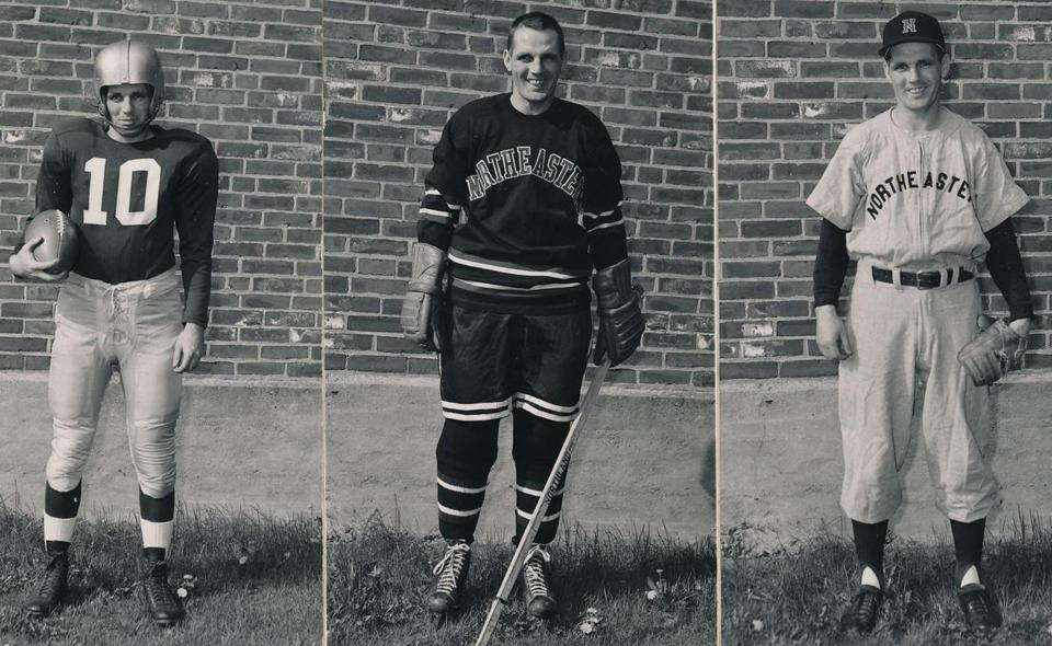 Mr. Connelly was a triple threat for the Huskies, earning All-New England honors in football, hockey, and baseball.