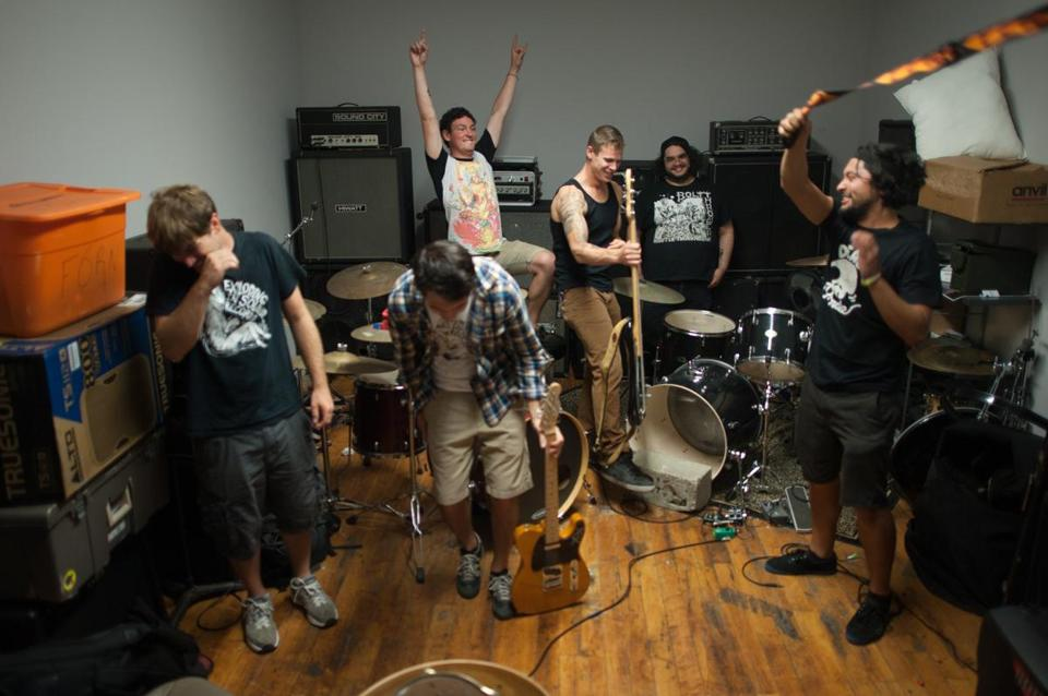 From left: Andy Chervenak, Jesse Weiss, Gio Coviello, Matt Powell, Joey Gonzalez, and David Khoshtinat at Studio 52 in Allston.