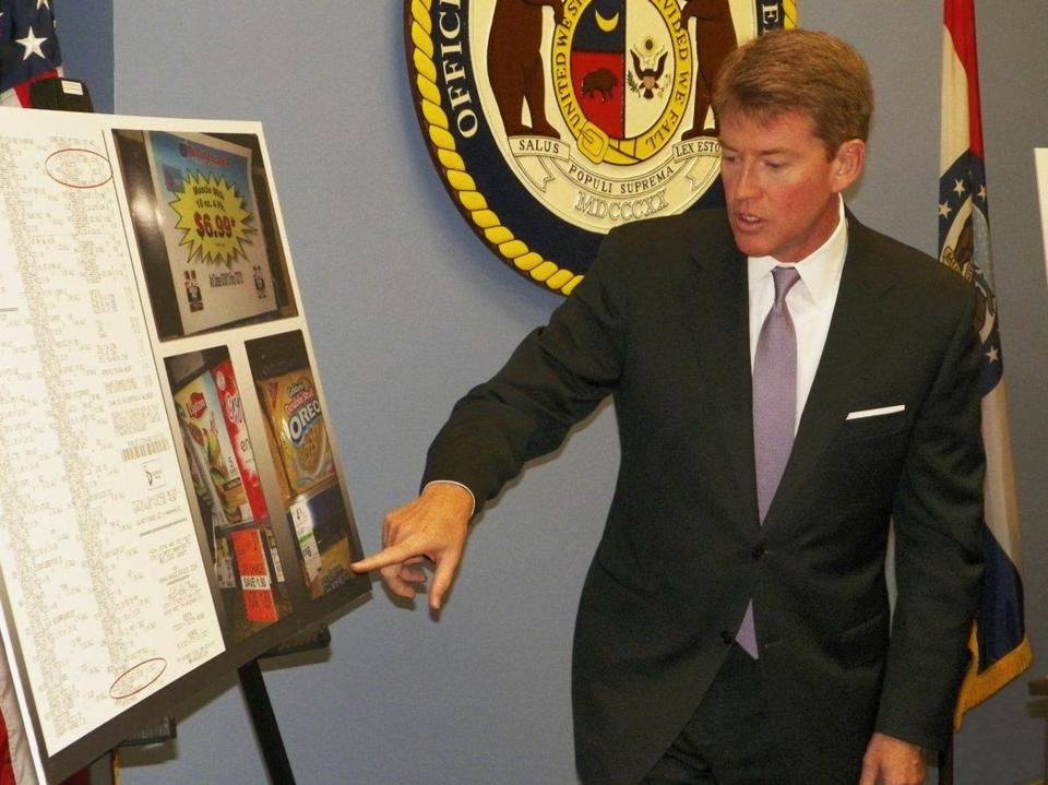 Chris Koster says Walgreen overcharges.