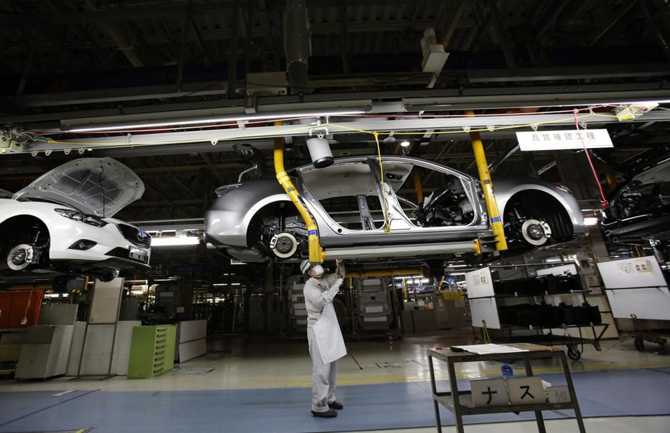 The assembly line at Mazda's Hofu plant can produce a vehicle every 54 seconds.