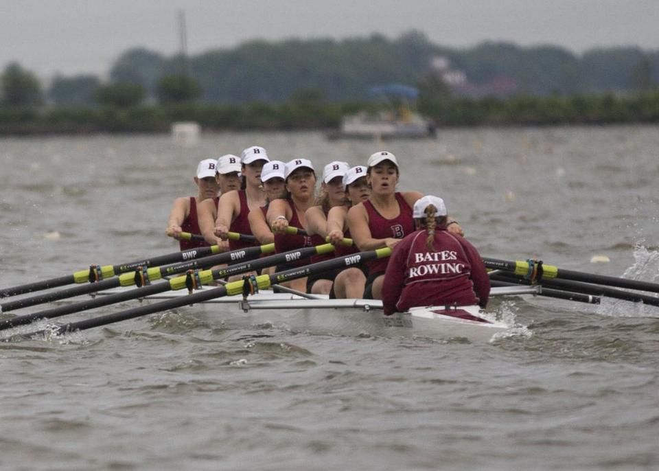 Emma Taylor of Scituate (fifth from left), who rowed for Thayer Academy in Braintree, practices with her Bates College crew.