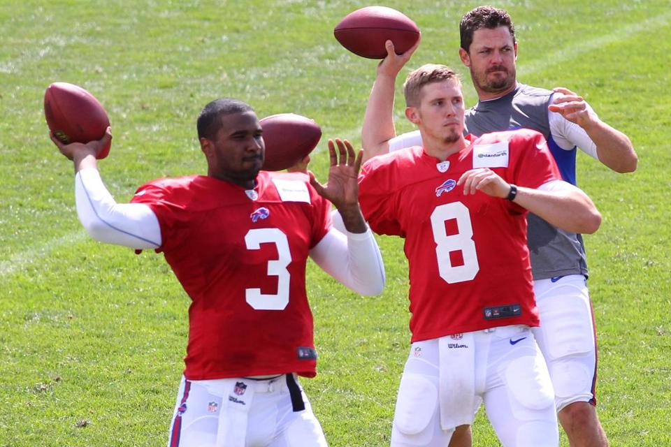 Jeff Tuel (8) may start for the Bills with EJ Manuel (3) and Kevin Kolb ailing.