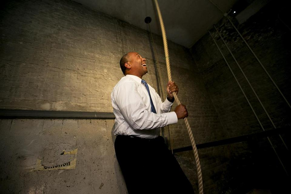 "Governor Patrick rang the bells in the Old South Meeting House in Boston in honor of the 50th anniversary of Martin Luther King Jr.'s ""I have a dream"" speech."