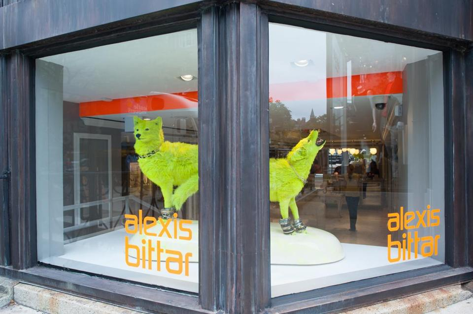 Alexis Bittar brought two acid-green taxidermy coyotes to Newbury Street.