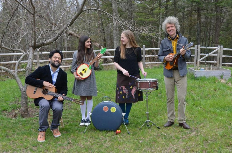 "Elizabeth Mitchell and Dan Zanes (right) with Mitchell's husband, Daniel Littleton, and daughter, Storey Littleton, in Woodstock, N.Y., where they collaborated on the album ""Turn, Turn, Turn."""