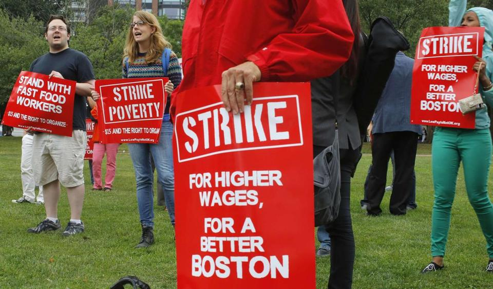 Demonstrators gathered on Boston Common in August as part of a nationwide fast-food workers' strike.