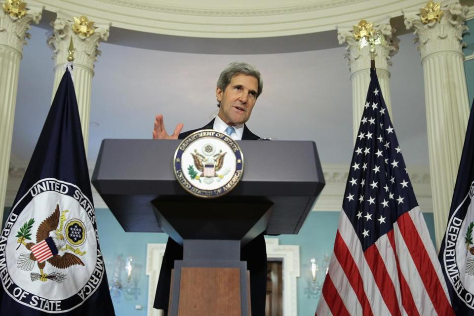 Secretary of State John F. Kerry placed particular emphasis on the number of children who were victims.