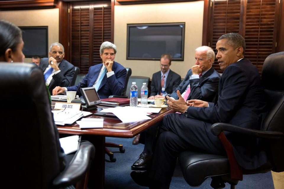 President Obama met with his national security staff to discuss the Syria crisis in the Situation Room of the White House on Friday.