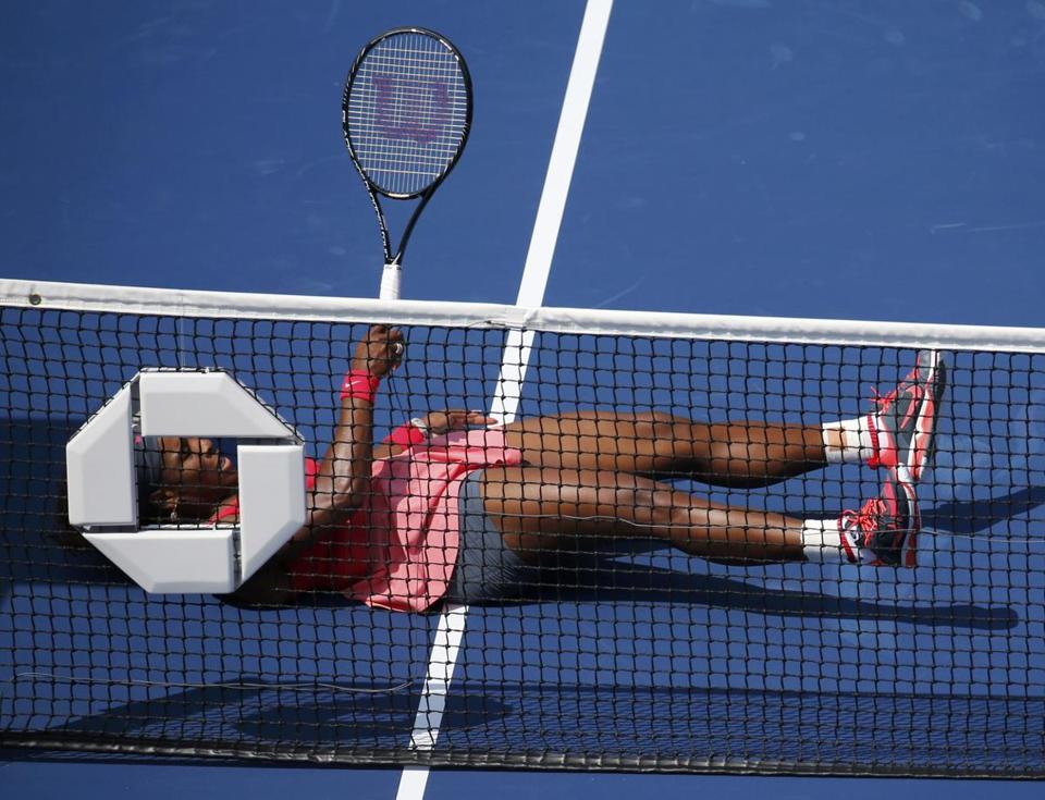 Serena Williams's fall was pretty much the only problem she had in her second-round victory over Galina Voskoboeva.