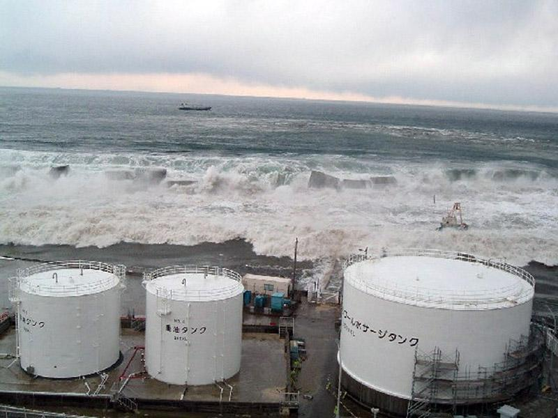 A tsunami hit near a radioactive solid waste storage facility (above) and other structures at the Fukushima Daiichi nuclear station in 2011, crippling the power station.