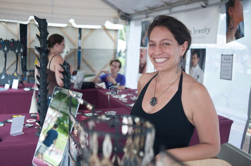 Jeweler Amy Casher at the Boston Arts Festival.