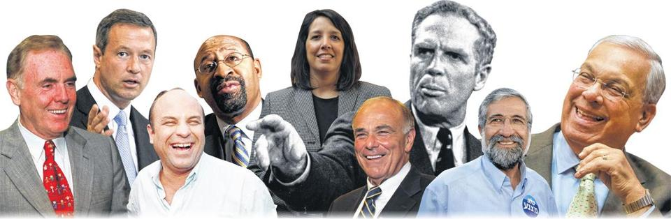 (From left to right) Ray Flynn; Martin O'Malley; Héctor Luis Acevedo; Michael Nutter; Kim Driscoll; Ed Rendell; Kevin White; Amram Mitzna; and Tom Menino.