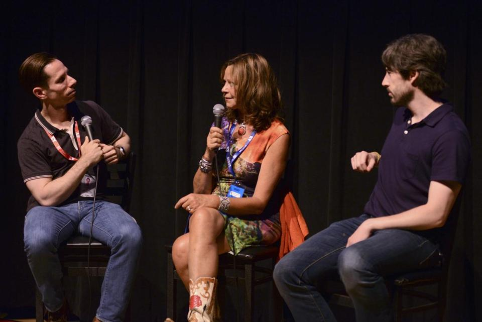 "From left: journalist Scott Foundas, Joyce Maynard, and Jason Reitman discussing  the film ""Labor Day"" at the 2013 Telluride Film Festival."
