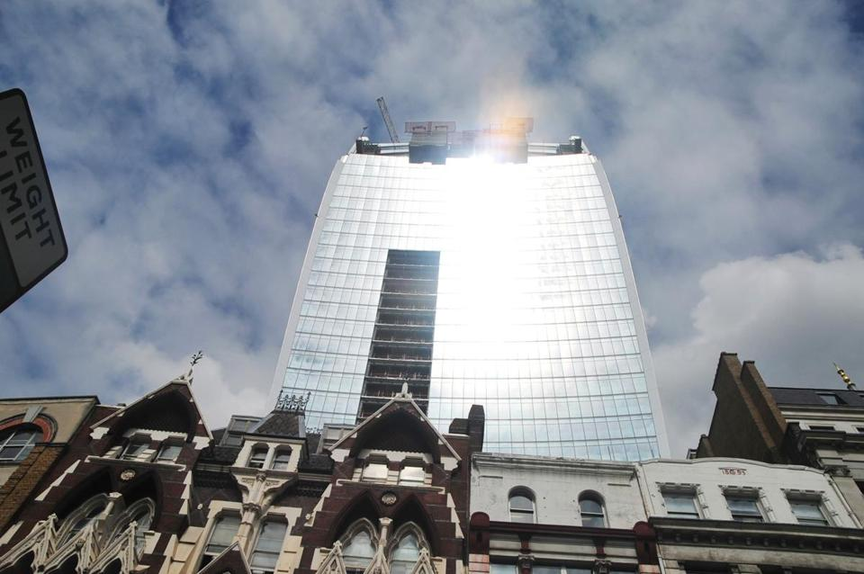 "Dubbed the ""Walkie-Talkie'' building, it generates intense glare during parts of the day in London."